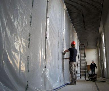 Curtain-Wall Renovierungssystem - das wiederverwendbare Schutz-System gegen Staub, Verschmutzung und Kälte auf Baustellen