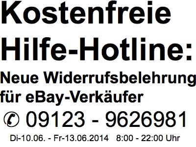 Kostenfreie Hilfe-Hotline zur neuen Widerrufsbelehrung bei eBay