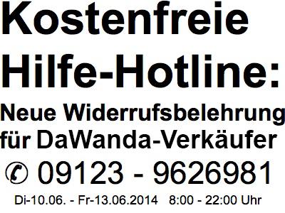 Kostenfreie Hilfe-Hotline zur neuen Widerrufsbelehrung bei DaWanda