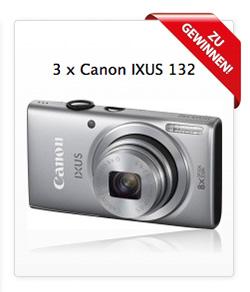Jetzt eine von drei Canon Ixus 132 Digitalkameras gewinnen!