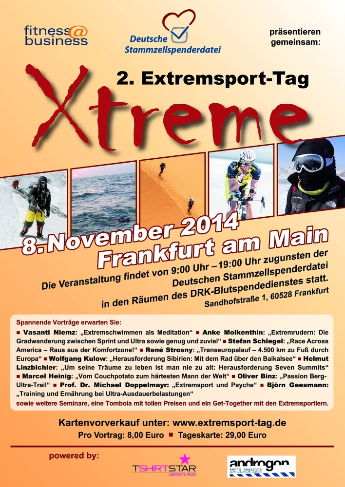 2. Extremsport-Tag in Frankfurt: Vorträge und Seminare zugunsten der Deutschen Stammzellspenderdatei