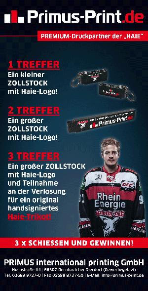 Erfolgreiche Promotion von Primus-Print.de bei den Kölner Haien