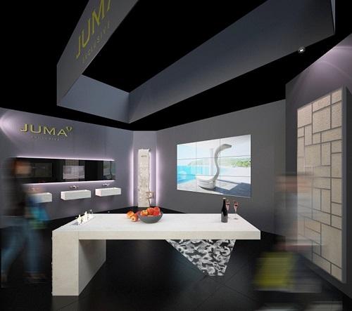 BAU 2015 - JUMA EXCLUSIVE stellt Konzeptstand vor: Individualisierbare Design-Objekte mixen emotionalen Naturstein mit edler Glas-Kreation