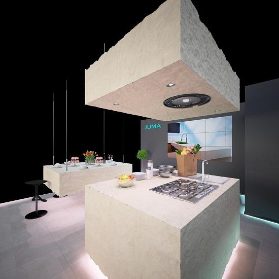 imm Cologne 2015 - LivingKitchen: JUMA inszeniert exklusive Küchenarbeitsplatten aus Massivkeramik, Quarzkomposit und Naturstein