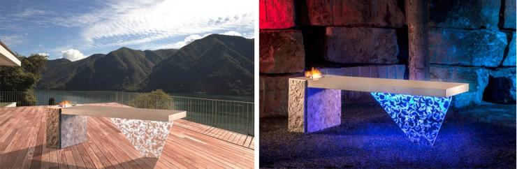 BAU 2015 - Massiver Design-Tisch aus Naturstein und edlem Acryl in überraschender Leichtigkeit von JUMA EXCLUSIVE