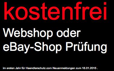 Kostenfreie eBay-Shop-Prüfung inkl. Abmahncheck