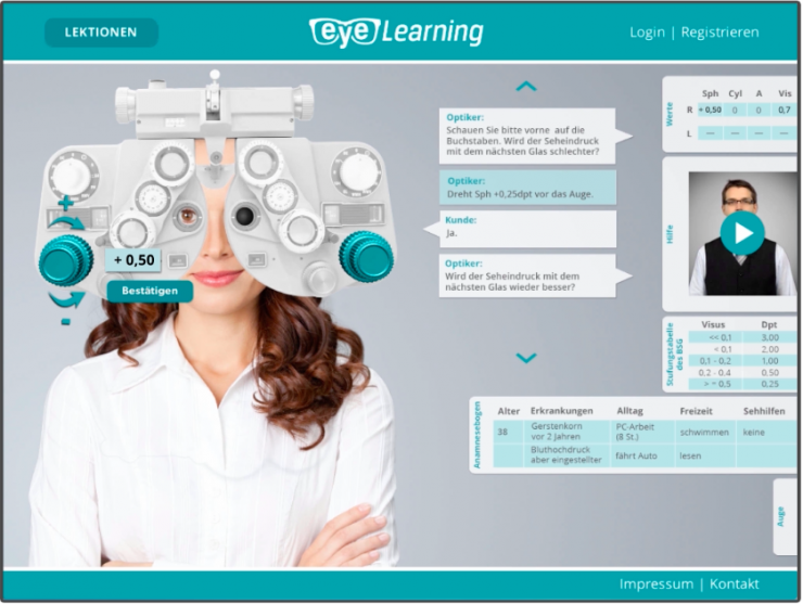 admago stellt online-basierte Lernsoftware Eye-Learning für Augenoptiker vor