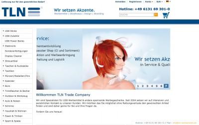 Internetauftritt der TLN Trade Company GmbH