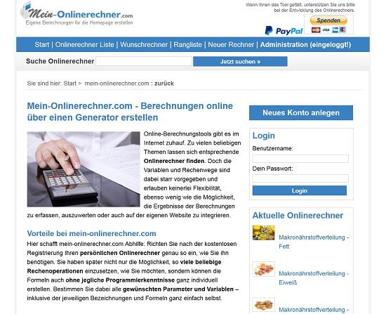 Gute Adresse für Websiteinhaber - www.mein-onlinerechner.com