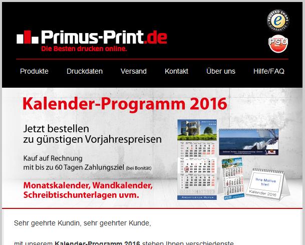 Newsletter der Druckmarke Primus-Print.de in neuem Design