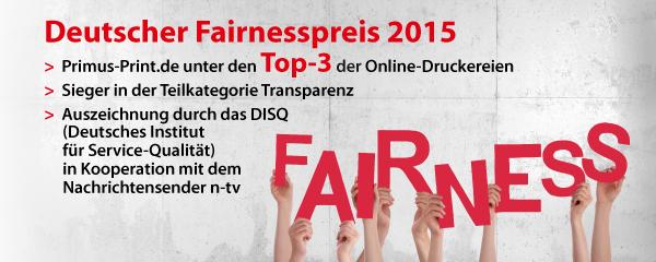 Deutscher Fairnesspreis 2015 - Primus-Print.de unter den Top-3 der Online-Druckereien