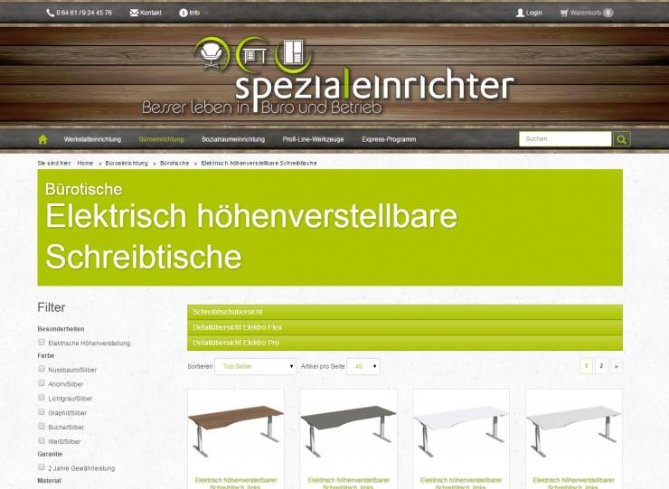 Elektrisch höhenverstellbare Schreibtische neu auf Spezialeinrichter.de