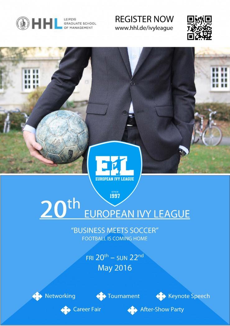 XX. European Ivy League: Fußballturnier und Karrieremesse vom 20.-22. Mai 2016 an der HHL