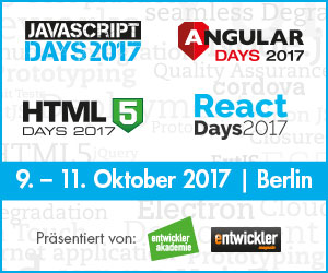 JavaScript Days, Angular Days, HTML5 Days und React Days im Oktober in Berlin