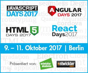 JavaScript Days, Angular Days, HTML5 Days und React Days im Oktober in Berlin