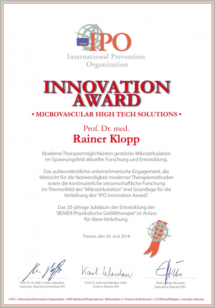 INNOVATION AWARD von IPO für Microvascular Hightech Solutions