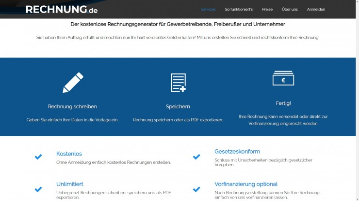 Für Gewerbetreibende, Freiberufler und Unternehmer:  RECHNUNG.de launcht kostenlosen Rechnungsgenerator mit Blitzgeld-Funktion