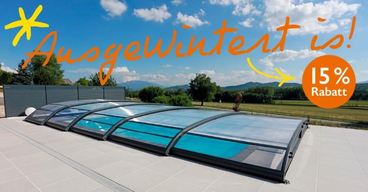 ?Swimmingpool mit Poolhalle  Badesaison verlängern