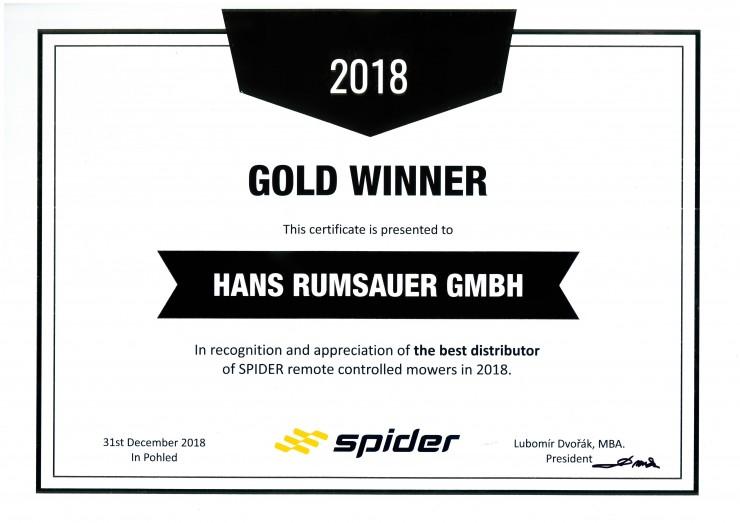 Rumsauer als weltweit bester Distributor für Spider-Großflächenmäher ausgezeichnet