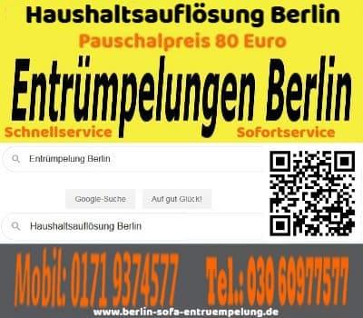 Sofort Sofa Entrümpelung Berlin pauschal 80 Euro