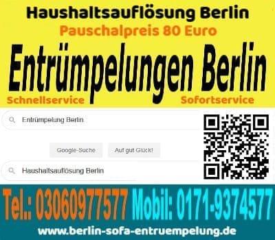 Sofort Sofa Couch Entrümpelung Berlin pauschal 80 Euro