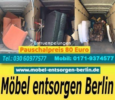 Möbelentsorgung Entrümpelung Berlin pauschal 80 EUR T. 030/60977577