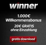 Winner Casino - 20 Euro Bonus ohne Einzahlung