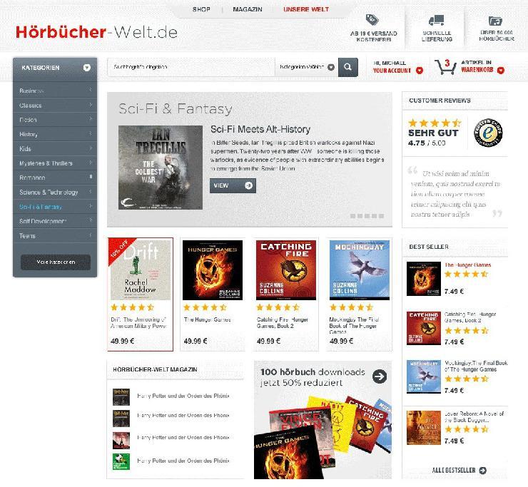Vielfalt plus Magazin: Hörbücher-Welt.de kombiniert einen der größten Hörbuch-Shops mit redaktionellen Empfehlungen