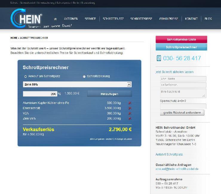 Kostenloser Schrottpreisrechner jetzt neu unter www. hein-schrotthandel.de/schrottpreisrechner/