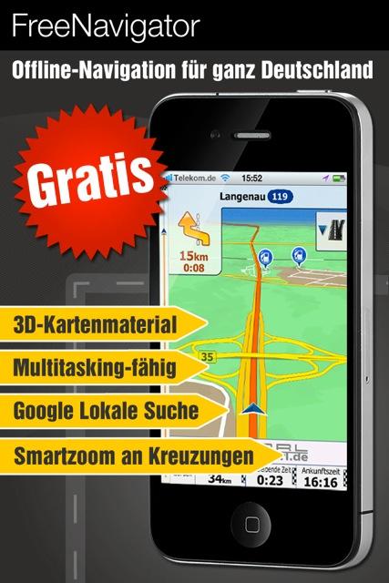 Jetzt mit Karten-Update: Kostenlose GPS Navigation für iPhone/ iPad als Vollversion mit Offline-Kartenmaterial