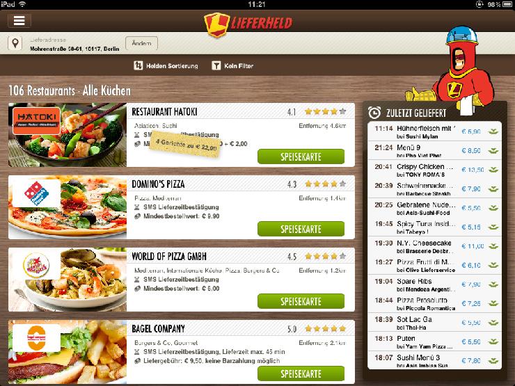 Erste iPad App zum Essen bestellen in Deutschland