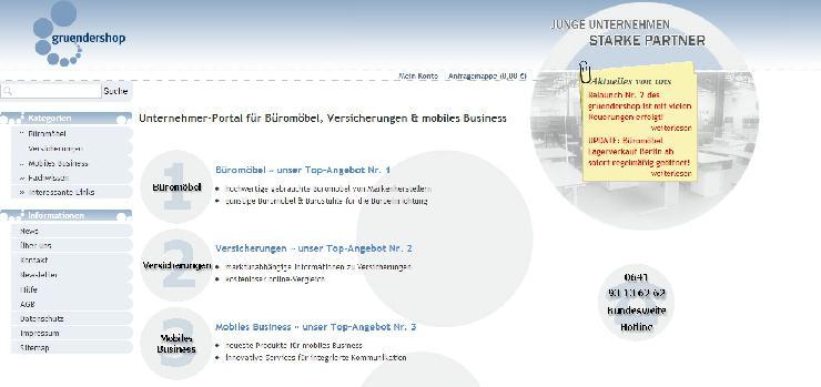 gruendershop.de präsentiert neue Web-Oberfläche