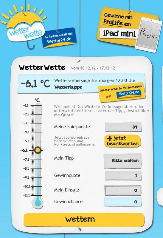 Spielspaß mit dem neuen Online-Gewinnspiel WetterWette garantiert
