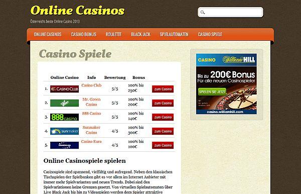 Casinospiele für Österreich auf online-casinos.at