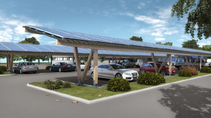 Solarcarports mit Holzstruktur: nachhaltig, optisch ansprechend, langlebig und kostengünstig