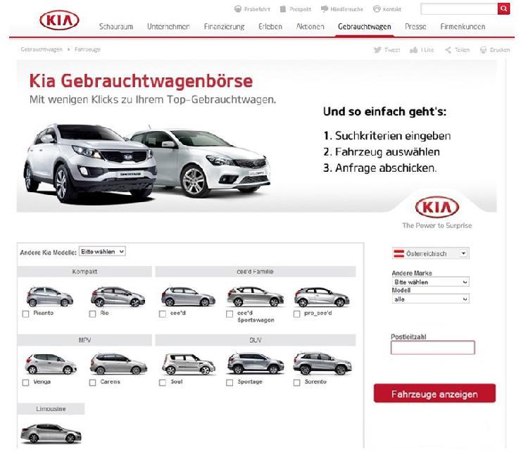 KIA Austria startet eigene Gebrauchtwagenbörse mit Technologie von WebMobil24