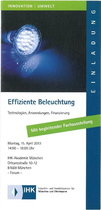 IHK-Veranstaltung Effiziente Beleuchtung für Industrie, Gewerbe, Handel, Hotels