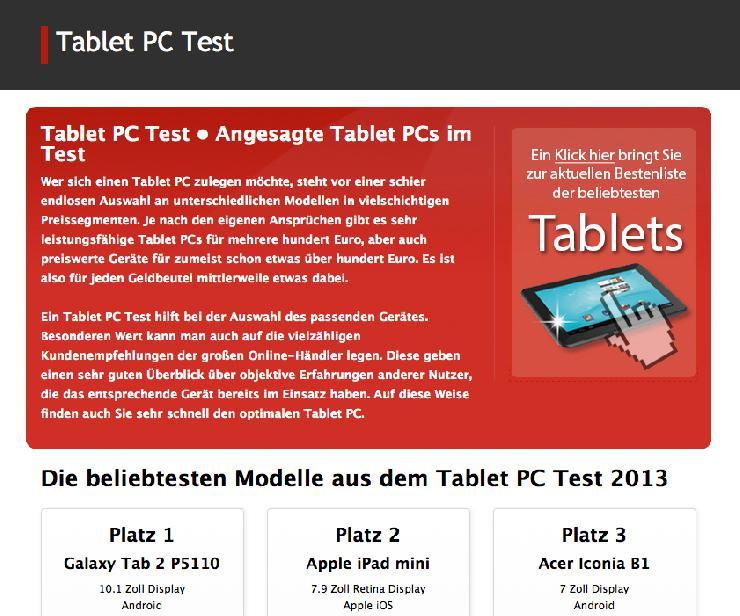 Tablet PC Test - Die beliebtesten Tablet PCs im Jahr 2013