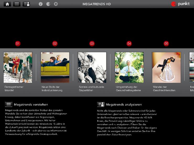 Megatrends HD  Neue App für Strategen und Zukunftsplaner. Z_punkt bringt die 20 wichtigsten Megatrends auf das iPad