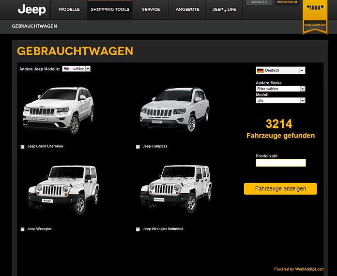 Jeep setzt weiterhin auf die Technologie von WebMobil24