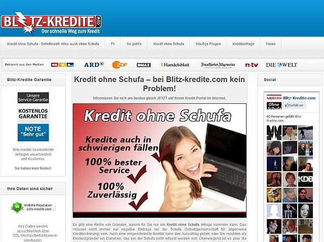 Blitz-Kredite.com Kredite ohne Schufa