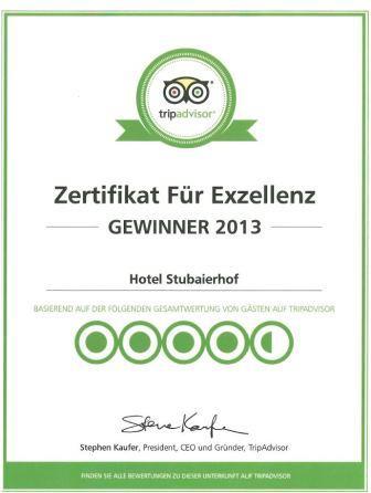 4 Sterne Hotel Stubaierhof in Neustift im Stubaital erhält Tripadvisor Zertifikat für Exzellenz 2013