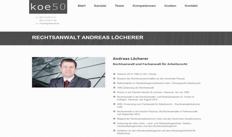 Rechtsanwalt Löcherer verstärkt KOE50