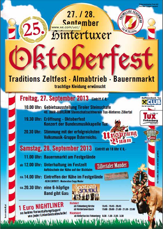 Tux wird zur Wiesn - 25. Hintertuxer Oktoberfest steht vor der Tür