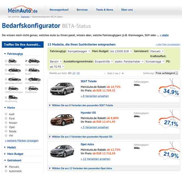 Studie: Bedarfskonfiguratoren sind als Wegweiser für Neuwagenkunden gefragt