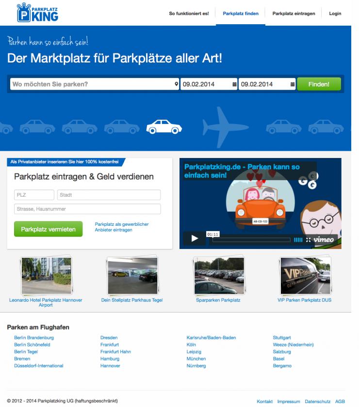 Parkplatzking.de startet mit über 15.000 günstigen Parkplätzen an deutschen Flughäfen