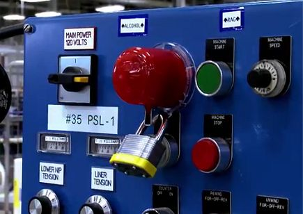 Lockout-Verriegelung für Notaus-Schalter und Notaus-Taster