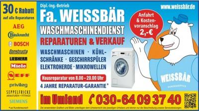 Weissbär e.K. - Waschmaschinen Reparatur feiert Jubiläum